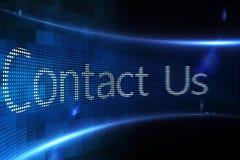 Kontakta oss på den digitala skärmen Arkivfoton