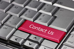 Kontakta oss på ett tangentbord Royaltyfria Bilder