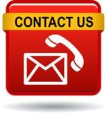 Kontakta oss röda symboler för knapppostappellen stock illustrationer