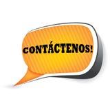 Kontakta oss! - Spanskt språk Arkivbild