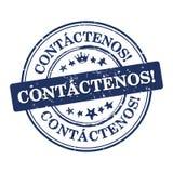 Kontakta oss! - Spanskt språk Fotografering för Bildbyråer