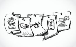 Kontakta oss symboler, pappers sometiketter skissar vektor illustrationer