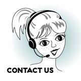 Kontakta oss - tecknad filmflickan med hörlurar med mikrofon Royaltyfri Fotografi