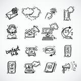 Kontakta som oss, skissar symboler vektor illustrationer