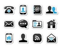 Kontakta symbolsuppsättningen som etiketter - mobilen, användaren, e-post Arkivbild