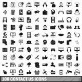 100 kontaktar som oss, ställer symboler in, enkel stil Royaltyfria Bilder