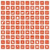 100 kontaktar som oss, ställer symboler in grunge orange Royaltyfri Foto
