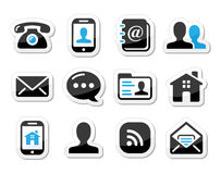 Kontaktikonen eingestellt als Kennsätze - Mobile, Benutzer, E-Mail Stockfotografie