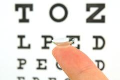 Kontaktlinse- und Augenprüfungsdiagramm Stockfotos