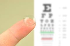 Kontaktlinse- und Augenprüfungsdiagramm Stockbild