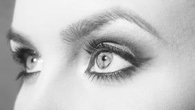 Kontaktlinser trendig posera kvinna Skönhet och mode, blåa ögon med ljusa skuggor arkivfoton