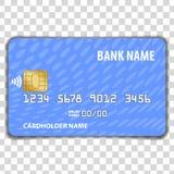 Kontaktlose Kreditkarte lokalisiert auf transparentem Hintergrund Spott herauf Schablone lizenzfreie abbildung