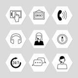 Kontaktmitt eller online-servicesymbolsuppsättning stock illustrationer