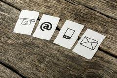 Kontaktowe i komunikacyjne ikony Zdjęcia Royalty Free