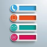 Kontaktowe ikona sztandarów dziury Zdjęcia Stock