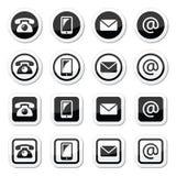 Kontaktowe ikony w okręgu i kwadracie ustawiają - wiszącą ozdobę, telefon, email, koperta royalty ilustracja