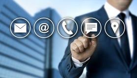 Kontaktowy opci pojęcie pokazuje biznesmenem Zdjęcia Stock
