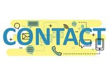 Kontaktowy pojęcia mieszkania linii projekt z ikonami i elementami Nowożytna kontaktowa pojęcia s kolekcja Kontaktowy pojęcia lit Obraz Stock