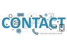 Kontaktowy pojęcia mieszkania linii projekt z ikonami i elementami Nowożytna kontaktowa pojęcia s kolekcja Kontaktowy pojęcia lit Obrazy Stock