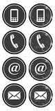 Kontaktrengöringsduk och inställda retro symboler för internet Arkivfoton