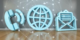 Kontaktsymboler i modern tolkning för inre 3D Royaltyfria Bilder
