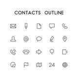 Kontaktu konturu ikony set Zdjęcie Stock