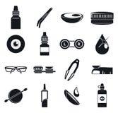 Kontaktu wzrokowego obiektywu ikony set, prosty styl ilustracji