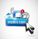 kontaktuje się my guzik i ikony w hiszpańskim Obrazy Stock