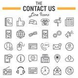 Kontaktuje się my kreskowy ikona set, sieć guzika znaki ilustracja wektor