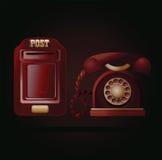 Kontaktuje się my! Rocznika postbox i telefon Fotografia Stock