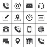 Kontaktvektorsymboler ställde in, den moderna fasta symbolsamlingen, fylld stilpictogrampacke Tecken logoillustration arkivbilder