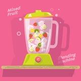 Kontaminaci maszyna z mieszanką owoc sok lód truskawka ilustracji