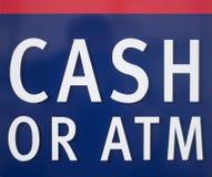 Kontant ATM-tecken Royaltyfria Bilder