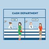 Kontant avdelning i banken vektor illustrationer
