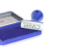 Kontant bokstav på blå rubber stämpel Royaltyfria Bilder