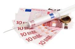 kontant eurosinjektion Royaltyfri Bild