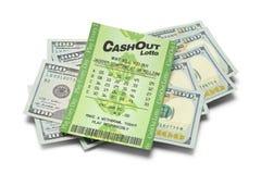 Kontant hög för lotto Arkivfoton