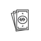Kontant pengarlinje symbol, översiktsvektortecken, linjär stilpictogram som isoleras på vit stock illustrationer