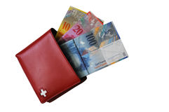 kontant schweizisk plånbok royaltyfria foton