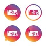 Kontant teckensymbol illustrationpengar för euroen 3d framförde symbol mynt vektor illustrationer