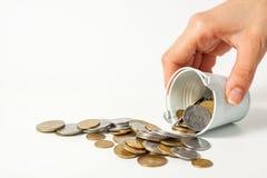 Kontant valuta Ukraina för pengarmyntstycke Arkivbilder
