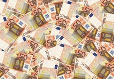 kontanta bakgrundspengar för euro 50 Ekonomi för begreppsframgångrich Royaltyfria Bilder