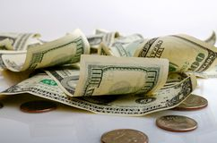 Kontanta dollar och cent USA Arkivbilder
