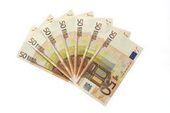 Kontanta pengar 50 eurosedlar Arkivfoton