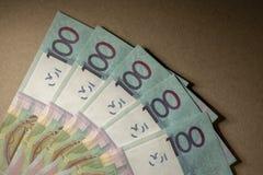 Kontanta vitryska pengar efter devalveringen Lön eller kreditering Arkivfoton