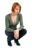 kontemplacyjna trybowa smutna kobieta fotografia royalty free