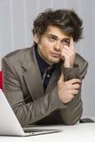 Kontemplacyjny przystojny młody biznesowy facet Obraz Stock