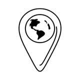Kontinent för läge för översikt för översiktspekarejordklot royaltyfri illustrationer