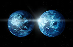 Kontinent för planetjord två med solresning från utrymme-original bild från NASA vektor illustrationer