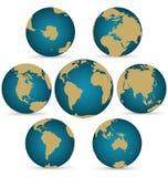 Kontinent på det Rotatable jordklotet vektor illustrationer